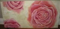 Painting on canvas - Tableau - Fleurs - Rose (19x39)