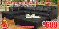 Johnny 3pc Bonded Leather Sectional, $699 Tax Included!