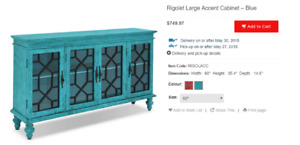 Teal Cabinet/Curio/Sideboard - NEW CONDITION