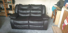 2 seater recliner leather sofa