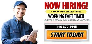 MECHANICS ASSISTANT/DRIVER WANTED - $15.00/h
