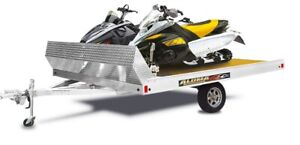 New Aluma 2 Place Tilt deck Snowmobile trailer 8612T with shield