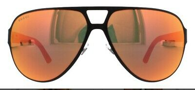 GUCCI GG2252/S Aviator Sport Metal Rubber Matte Orange Mirrored (Gucci Sport Sunglasses)