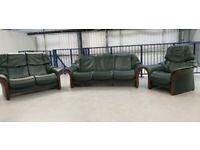 Ekornes stressless 3 seat recliner & 2 seater recliner & Chair Green 1501204