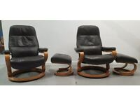 Himolla 2 x swivel recliner leather chairs and Stools brown 1312209