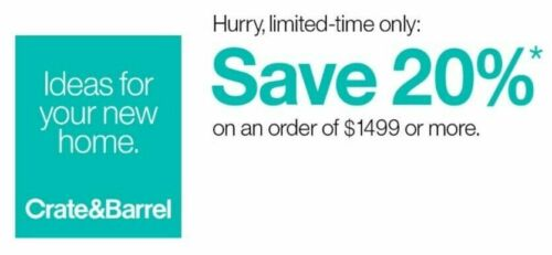 Crate and Barrel 20% off RARE COUPON - works on furniture - exp. 12-07-20 - FAST