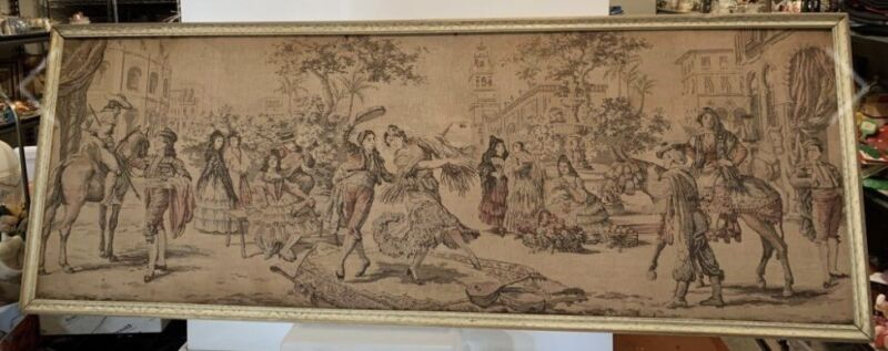 Antique Victorian Tapestry European Aubusson Style Framed Wall 57 1/2 X 21 1/2.