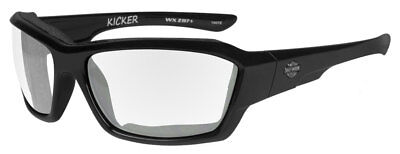 Harley-Davidson Men's Kicker Sunglasses, Clear Lens/Gloss Black Frame HAKIC03