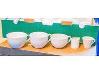 £50 ONO: Coffee cups, cafe cappuccino cups, milk jug, espresso cups, crockery, tea cups, cups -white