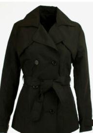 Womens Ladies Black Hip Woolen Coat Jacket with Waist Tie