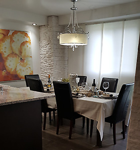 IKEA TABLE AND 6 FAUX LEATHER CHAIRS