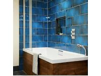 Gorgeous Teal Blue Original Style Montblanc Scoured Ceramic Wall Tiles