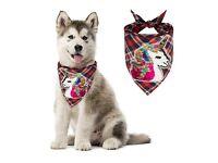 Plaid Puppy Dog Bandana Unicorn - Cute Triangle Bib Scarfs with Reversible Sequin Pattern