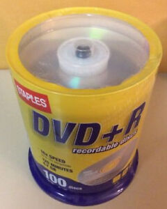Staples 4.7GB DVD+R, 100/Pack Spindle