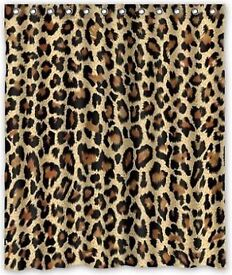 Free leopardskin pattern rugs & matching curtains.