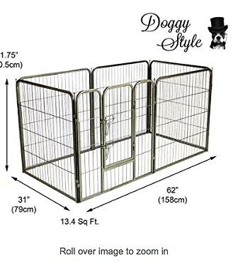 Dark Silver Puppy Crate perfect for vet bed, pee pad & toys – a puppy palace!