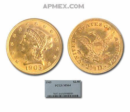 1905 $2.50 Liberty Gold Quarter Eagle MS-64 PCGS - SKU#23082