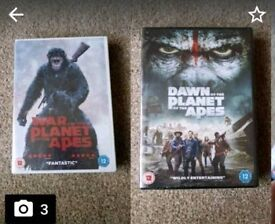 2 X planet of the apes NEW dvds. War for the planet of the Apes and Dawn of