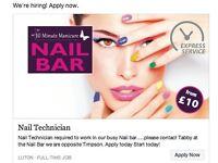 Nail Technicians vacancy
