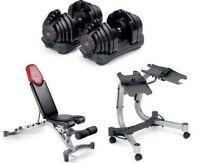 bowflex 552 adjusable dumbbells with bench
