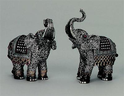 2 Stück Elefanten Figuren mit Glitzersteinen 16 cm Elefant
