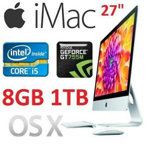 "REFURB APPLE IMAC 27"" AIO DESKTOP - 134191678 - COMPUTER PC INTEL I5 8GB MEMORY 1TB HDD OSX GEFORCE GT 755M"
