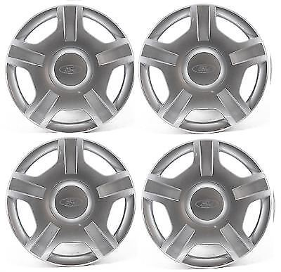 "Genuine New Ford Fiesta 14"" Inch Wheel Trim Set of 4 Silver 5 Spoke - 1224711"