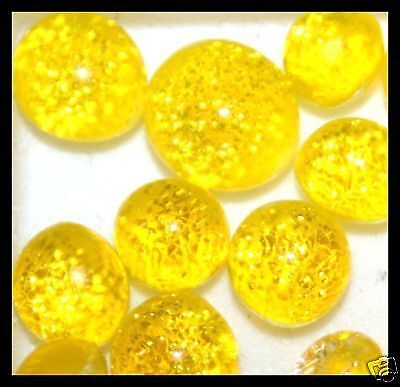 Lot of 6 XS TWINKLE YELLOW Fused Glass DICHROIC Cabochons NO HOLES Beads