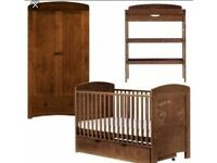 Nursery furniture 4 pieces set cot bed toys box wardrobe and changing table as Mamas & Papas