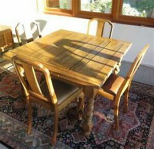 Antique Oak Table with Two Extensions and  Four Chairs