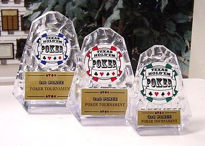 New Sculpted Acrylic Poker Or Euchre Awards Trophy Lot