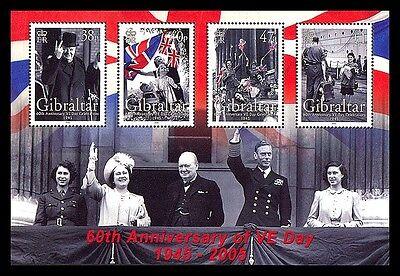 VE Day 60th Anniversary WW II souvenir sheet mnh Gibraltar 2005 Churchill KGVI