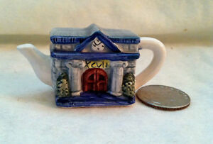 "Red Rose Tea Mini Teapots ""Roseville' Town Hall and Fire Station"