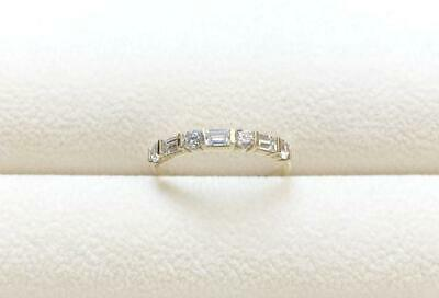 Baguette & Round Diamond Beautiful Half Eternity Band Ring 14k Yellow Gold (Gold Half Round Band)