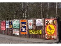 WANTED - old enamel or tin shop and garage advertising signs