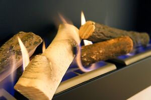 Fireplace Bio Ceramic Wood Logs Burner Gas Fire BEST QUALITY - REALISTIC LOOK