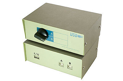 USB Manual Printer Share Switch Box 2 Port With Cables
