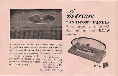 Eversure Anticon Rear Window Anti-Mist Panels 1957-58 UK Market Leaflet Brochure