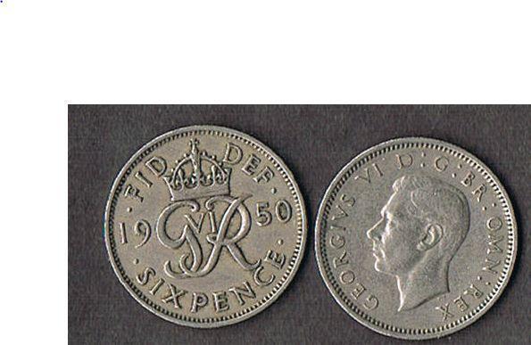 1950 UK GREAT BRITAIN SIXPENCE