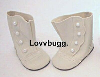 "Lovvbugg Ivory Victorian Boots for 18"" American Girl Rebecca or Baby Doll Shoes"