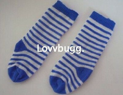 "Lovvbugg Blue Stripe Soccer Socks for 15-18"" American Girl Doll Clothes"