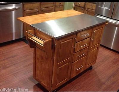 Kitchen Island Cart Stainless Steel Top Breakfast Bar Natural Wood Cabinets Roll