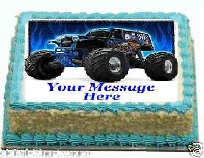 Monster Jam Truck Grave Digger Cake topper edible image icing REAL FONDANT ](Grave Digger Monster Truck Party Supplies)