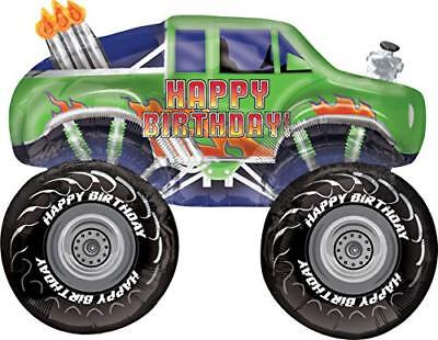 Green Happy Birthday Monster Truck Foil Balloon - Happy Monster