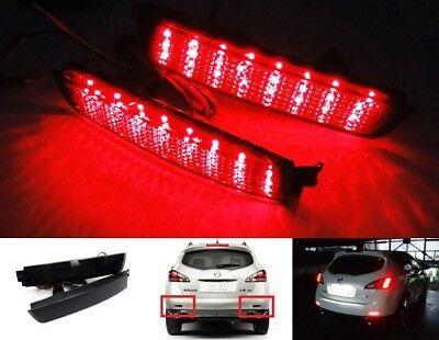 2x Black Lens Bumper Reflector LED Tail Stop Light DRL For Nissan Juke Murano FX