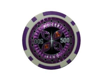 100 Laser Pokerchips. Ersatz Chips Poker Zubehör Wert 500 Lila, 12 Gramm