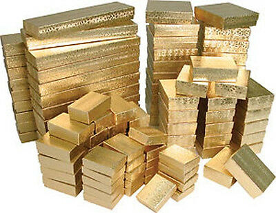 100 ASSORTED GOLD COTTON FILLED JEWELRY GIFT BOXES