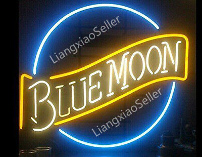 17x14 Blue Moon Open Business Store Beer Bar Real Neon Light Sign Free Ship