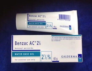 1X60 GRAMS OF Benzac 2.5% Benzoyl Peroxide Water Based Clears Acne&Blemishes