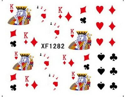 Poker King of Hearts Diamonds Clubs Spades Water-Transfer Art Nail Sticker 1282